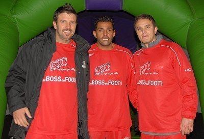 Vincent Cadela, Sonny Anderson et Laurent Robert devant la Real-Sport